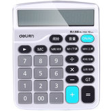 Deli 1532 Voice Computer Human Voice 12-Bit Large Screen Economic Calculator Support Alarm Calendar