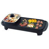 220V/50Hz 1300W 2 In 1 Electric Barbecue Pan Grill Fry Oven Hot Cooking Pot for Kitchen