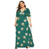 Women Floral Print V-neck Holiday Short Sleeve Maxi Dress