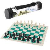 43*43cmTamanhodotorneio de turismo ao ar livre Jogo de jogo de xadrez Conjunto de peças de plástico Jogo de família portátil de rolinho verde