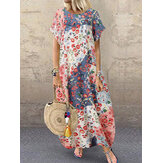 Women Retro O-neck Multicolor Floral Print Short Sleeve Loose Holiday Baggy Maxi Dress With Pocket