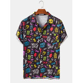 Mens Funny Colorful Musik Graffiti Print Button Up Revers Kragen Kurzarm Shirts