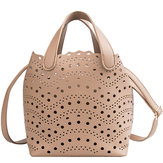 2 PCS Women Hollow Out PU Leather Bucket Bag