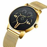 Moda casual masculina liga relógio de negócios decorado com ponteiro calendário relógio de quartzo