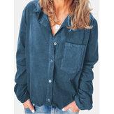 胸ポケット付き女性コーデュロイカジュアル無地長袖シャツ