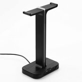 Inphic H100 Headset Stand Dual USB Ports Colorful Light Base Headphone Hanger Headset Mount Holder Office Home Decor