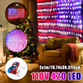 American Flag Net Lamp 420LED String Lights Outdoor Waterproof Yard Home Holiday Decoration AC110V