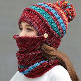 Lã Feminina 3 PCS Plus Veludo Engrossar Quente Pescoço À Prova de Vento Proteção Facial para Equitação Chapéu Máscara Lenço