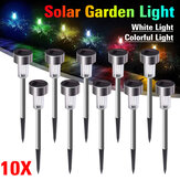 10PCS Acero inoxidable Solar Powered LED Luz de césped al aire libre Home Garden Decorativo Lámpara