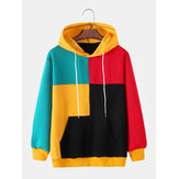 Homens Colorful Patchwork Kangaroo Pocket Manga Longa Hoodies