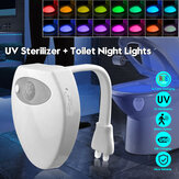 UV Sterilizer Toilet Lamp Disinfection Kill Bacteria Light 16 Colors Changing Motion Activated Led Toilet Seat Anti Bacteria Light Sterilizer UVC Lamp for Any Toilet