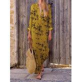 Women Casual V Neck Floral Print Maxi Dress