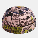 Banggood Design Men Patchwork Cartoon Pattern Brimless Landlord Cap Skull Cap