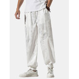 Mens Chinese Style Elastic Waist Tie Feet Casual Pants With Pocket