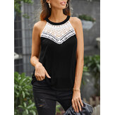 Elegant Lace Hollow Patchwork O-neck Sleeveless Tank Tops For Women
