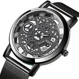 SOXY Fashion Creative Hollow Dial Stainless Steel Strap Men Quartz Watch