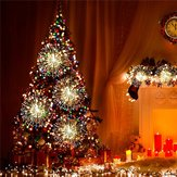 Battery Operated 8 Mode LED Dandelion Hanging String Light with Remote Control Christmas Decor