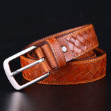 Men Genuine Leather Solid Color Retro Handmade Woven Jeans Skirt Belts