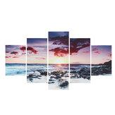 5 pezzi Wall Art Canvas Tramonto Sea Wall Art Picture Canvas Painting Home Decor Immagini a parete per soggiorno Senza cornice