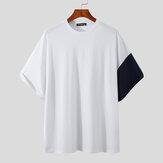 Tops de mangas curtas com gola redonda Whale Print Camiseta casual respirável e confortável Tops masculinos
