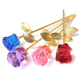 Crystal Glass Golden Roses Flower Ornament Valentine Gifts Present with Box Home Decorations