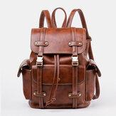 Unisex Kunstleder Business Retro einfarbig täglich große Kapazität Schule Tasche Rucksack