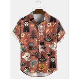 Women Halloween Cartoon Funny Print Lapel Short Sleeves Casual Shirts