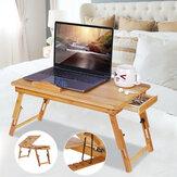 Isı Dağılımı ile doğa Bambu Katlanır Delik Çekmece Dizüstü Bilgisayar Masası Bilgisayar Mackbook Masaüstü Tutucu Yatak Masa Tepsi Standı