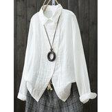 Mulheres Long Sleeve Side Button Down Blusa Básica Solta Básica