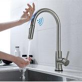 Geborsteld nikkel Roestvrijstalen gootsteen Kranen Mixer 360 ° rotatie Smart Touch-sensor Trek warm koud water mengkraan uit