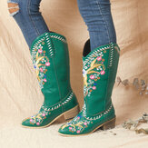 Original              Women Leather Retro Floral Printing Wearable Comfy Slip On Chunky Heel Mid-calf Cowboy Boots