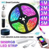 1M / 2M / 3M / 4M / 5M WiFi Smart RGB LED-strip Licht APP-bediening Flexibele lamp Werken met Amazon Alexa Google Home DC5V
