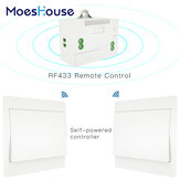 MoesHouse RF433 Wireless Switch No Battery Remote Control Wall Light Switch Self Powered No Wiring Needed Wall Panel Transmitter