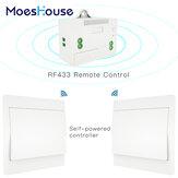 MoesHouse RF433 Kablosuz Anahtarı Hayır Batarya Uzakdan Kumanda Duvar Işık Anahtarı Kendinden Güçlendirilmiş Kablolama Gerekmez Duvar Paneli Verici