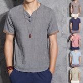 पुरुषों लिनन चीनी शैली रेट्रो ठोस रंग ग्रीष्मकालीन शर्ट