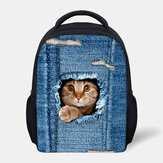Child Unisex 3D Animal Creative Cartoon Cute Cat Print Casual Outdoor Backpack Schoolbag