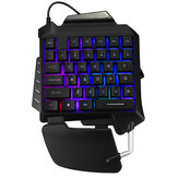G92 Single Hand RGB LED Backlit Gaming Keyboard 35 Keys Keypad Mouse for PUBG LOL Dota Games
