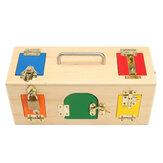 Enfants Life Skill Learning Bois Montessori Pratique Box Lock En Bois Jouets éducatifs Science