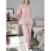 Women Flannel Letter Embroidery Thicken Hoodie Elastic Waist Loose Pants Home Pajama Set
