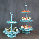 2/3 Ters niebieski Cake Holder Cupcake Stand Birthday Wedding Party Display Holder Dekoracje