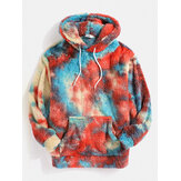 Tie Dye Plush Fluffy Kangaroo Pocket Hoodies