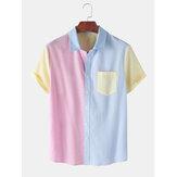 Erkek Casual Dikiş Kontrast Renk Kısa Kollu Gömlek