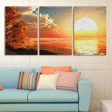 3 cascada día puesta del sol escena lienzo pintura decorativo pared imagen hogar decoración unframed