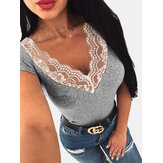Lace Patchwork V-neck Short Sleeve T-shirts For Women