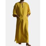 Erkek Hardal Set Pamuk Ekip Boyun Boyun hattı Yarık 3/4 Uzunluk Kol Uzun Uzunluk Elbisesi Gömlek