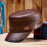 Chapéus lisos de couro masculino com coleira e chapéus quentes de cores correspondentes