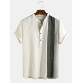 Mens Casual 100% Cotton Patchwork Breathalbe Short Sleeve Henley Shirts