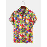 100% Cotton Colorful Daisy Printed Turn Down Collar Casual Holiday Shirts For Men Women
