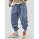 Herren Vintage Cord Warme elastische Taille Dicke Freizeithose