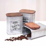 Chá Café Açucar Armazenamento Potes Tampa de Madeira Selada Caixa para Cozinha Vasilha de Metal Pote de Lata Grãos Soltos Cereais Recipiente Organizador de Doces